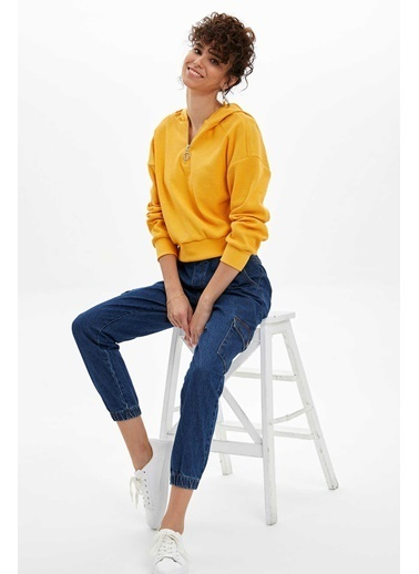 DeFacto Fermuar Detaylı Kapüşonlu Sweatshirt Sarı
